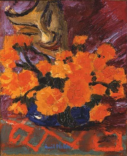HG © Thole Rotermund Kunsthandel, Emil Nolde, Maske und Blumen, 1919, Öl auf Leinwand, 49 × 42 cm