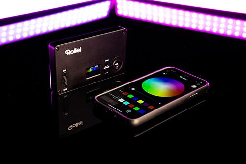 Rollei_Lumen Pocket RGB_mit App auf schwarz